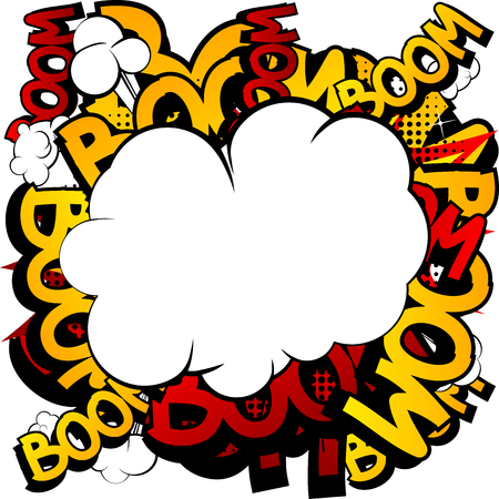 Bande dessinée, explosion de bande dessinée avec un nuage blanc. Vecteurs