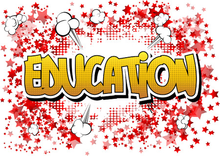 graduacion caricatura: Education - Comic book style word on comic book abstract background.