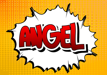 good spirits: Angel - Comic book style word on comic book abstract background. Illustration