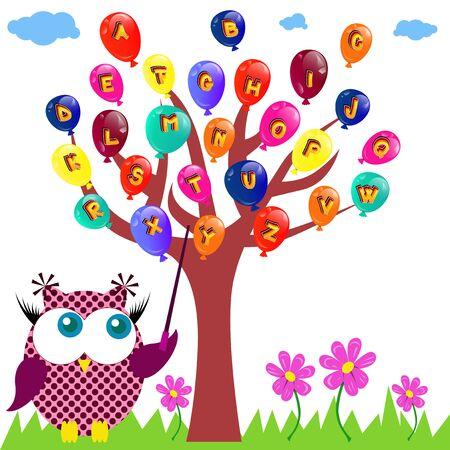 pedagogy: Vector illustration of an owl teaching the abc. Illustration
