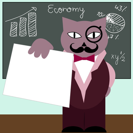 pedagogy: Vector illustration of a cat professor is holding a white paper.