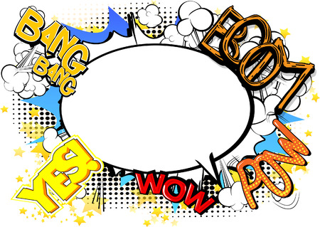 Comic book style abstract background with words and speech bubble.