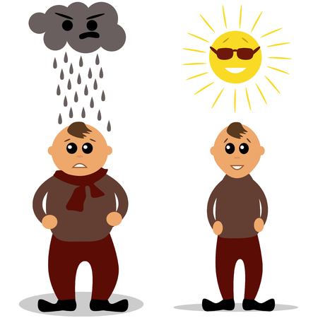 thin man: Fat and thin man with cloud and sun above their head.