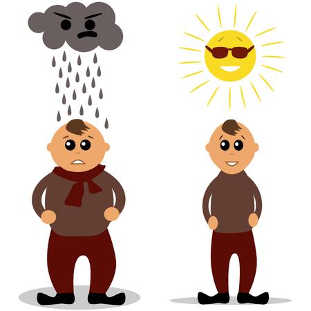 thin man: Hombre gordo y delgado, con nubes y sol por encima de su cabeza.