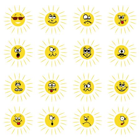 expresiones faciales Sun Ilustración de vector