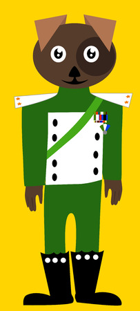 game dog: Vector illustrated cartoon dog soldier on yellow background.