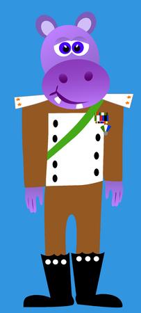 hipopotamo caricatura: Vector ilustrado de dibujos animados hipop�tamo soldado sobre fondo azul.