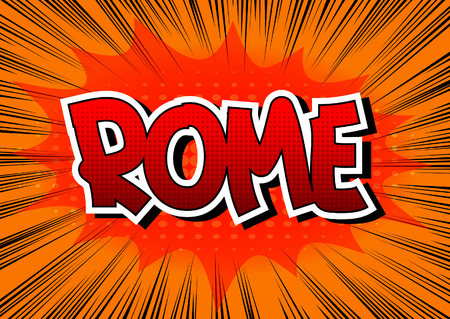 book background: Rome - Comic book style word on comic book abstract background.