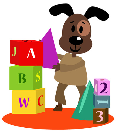 Cute and creative little dog is playing with alphabet blocks.