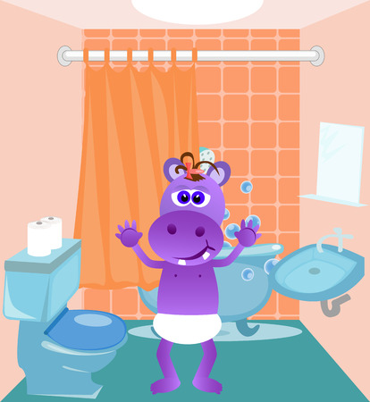 wet girl: Illustration of a baby hippo standing in a bathroom.