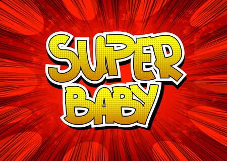cartoon little girl: Super Baby - Comic book style word on comic book abstract background.