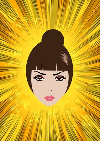 beauty girl pretty: Vector illustrated cartoon womans face on comic book abstract background Illustration