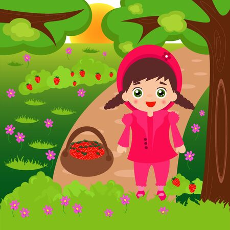 cartoon strawberry: Illustration of cartoon little girl picking strawberries in the forest. Illustration