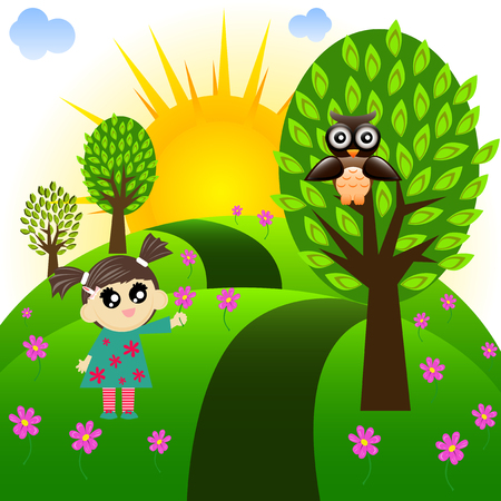 summer girl: Illustration of cartoon little girl who wants to give a flower to the owl in the forest.
