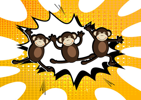 jumping monkeys: Vector illustrated three jumping monkey on comic book style background. Illustration