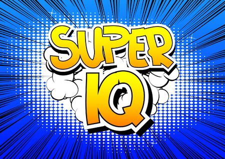 iq: Super IQ - Comic book style word on comic book abstract background.