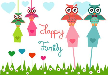 doughter: Illustration of an owl family with happy family text.