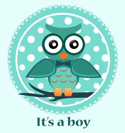 Tarjeta de Baby Shower con él es un texto niño y un búho lindo bebé. Foto de archivo - 53366957