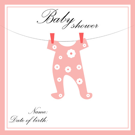 special moments: Baby shower card with pink baby dress with flower pattern. Illustration