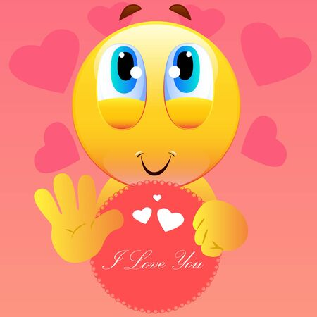 Illustration of adorable cartoon face holding a banner with I Love You text.