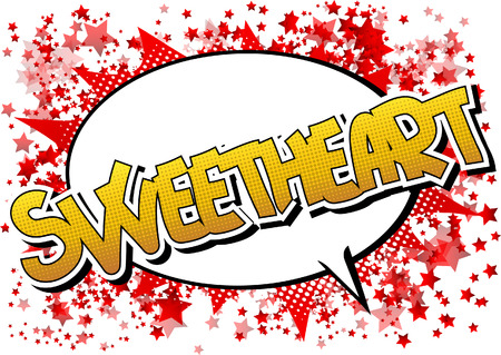 sweetheart: Sweetheart - Comic book style word on comic book abstract background.
