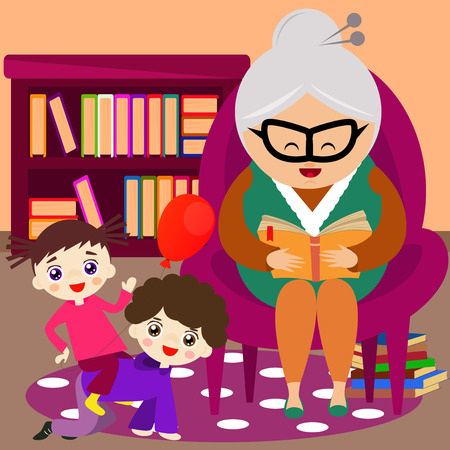 grandchild: Grandmother reading a tale to her grandchild.