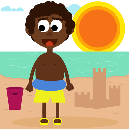 afro american: Cute afro american boy playing on the beach. Illustration