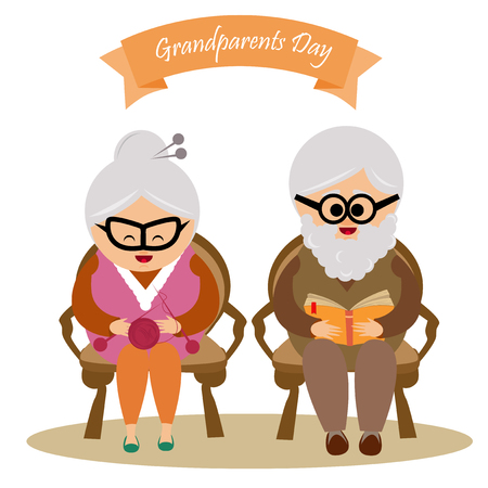 grand parents: Illustration of a cute grandmother and grandfather with grand parents day text. Illustration