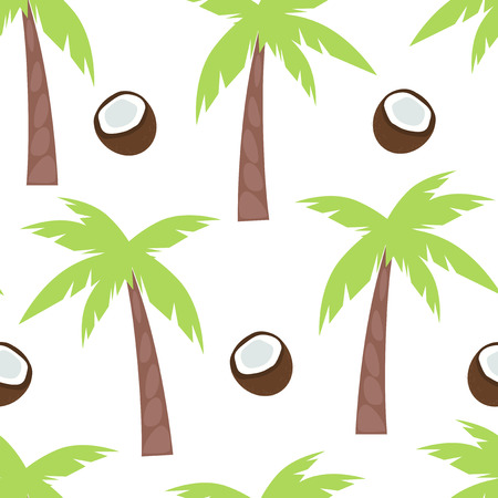 sliced tree: Illustration of a seamless pattern with palm trees and coconut.