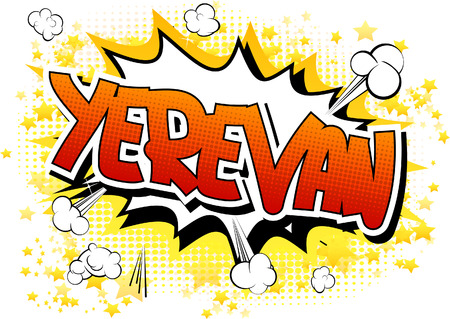 yerevan: Yerevan - Comic book style word on comic book abstract background. Illustration