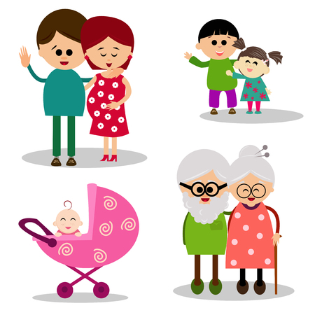doughter: Illustration of a cute family on white background. Illustration