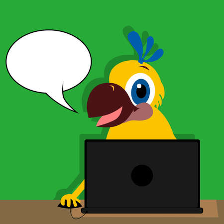 cartoon bubble: Vector illustrated cartoon parrot using a computer with blank speech bubble