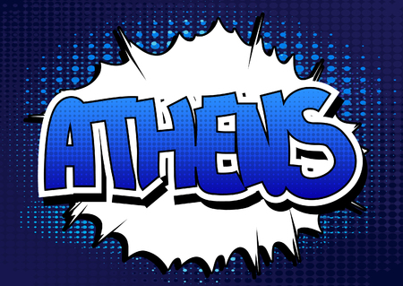 athens: Athens - Comic book style word on comic book abstract background. Illustration