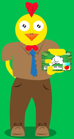 holding credit card: Vector illustrated cartoon chicken holding credit card. Illustration