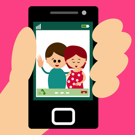 video call: Illustration of parents making a video call on smartpone. Illustration