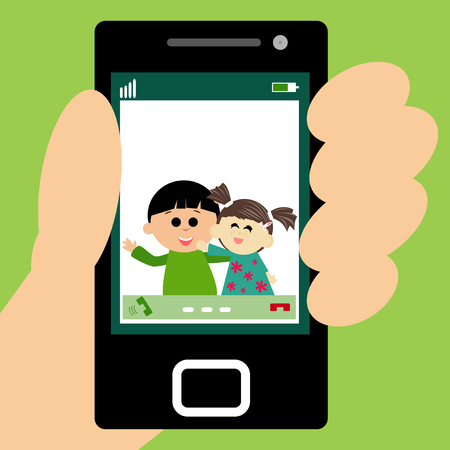 video call: Illustration of kids making a video call on smartpone.