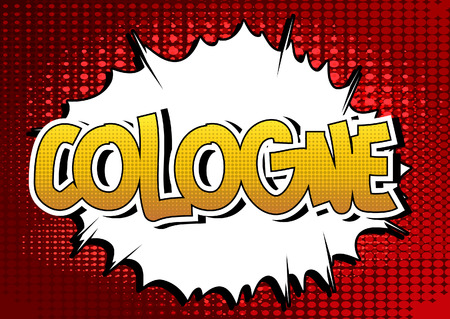 cologne: Cologne - Comic book style word on comic book abstract background.