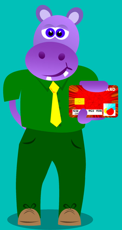 holding credit card: Vector illustrated cartoon hippo holding credit card.