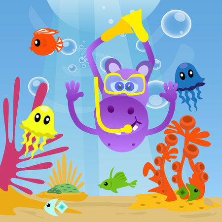 under sea: Hippo diving under sea and swimming with fishes. Illustration