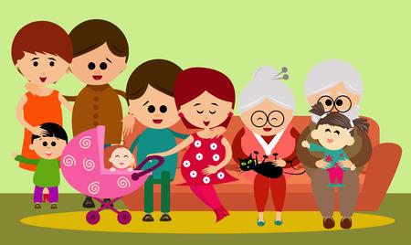 Ilustración de una gran familia adorable en el sofá.