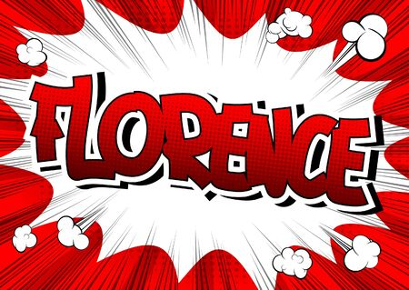 metropolitan: Florence - Comic book style word on comic book abstract background.