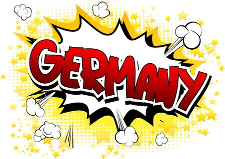deutschland: Germany - Comic book style word on comic book abstract background. Illustration