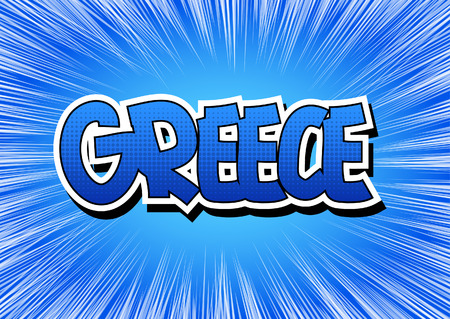 hellenic: Greece - Comic book style word on comic book abstract background.