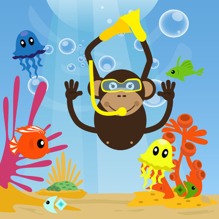 under sea: Monkey diving under sea and swimming with fishes.