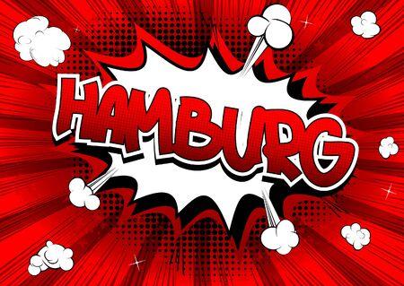 hamburg: Hamburg - Comic book style word on comic book abstract background.