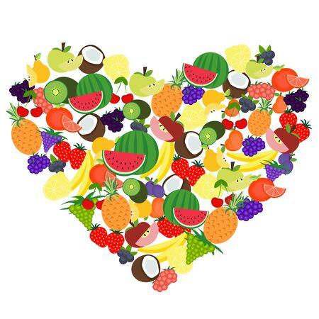 multivitamin: Vector illustrated cartoon set of fruit forming heart shape.