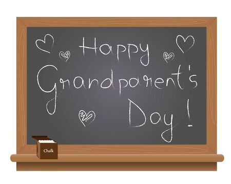 grand parents: Grand parents day text on a school blackboard written with chalk.