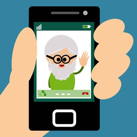 video call: Illustration of grandfather making a video call on smartphone.