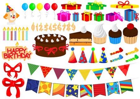 cartoon clown: Set of vector cartoon birthday elements isolated on white background.