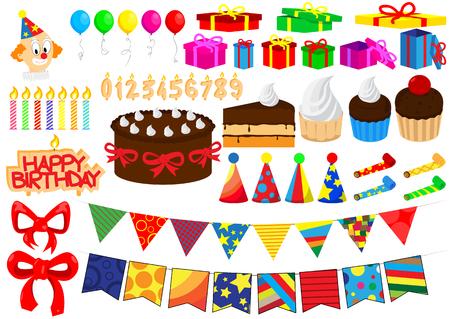 birthday clown: Set of vector cartoon birthday elements isolated on white background.
